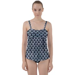 Scales3 Black Marble & Ice Crystals Twist Front Tankini Set