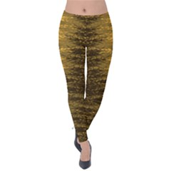Dark Goldenrod Autumn Bush Pattern Velvet Leggings by PattyVilleDesigns