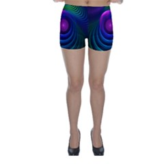 Beautiful Rainbow Marble Fractals In Hyperspace Skinny Shorts by jayaprime