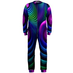 Beautiful Rainbow Marble Fractals In Hyperspace Onepiece Jumpsuit (men)  by jayaprime