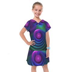 Beautiful Rainbow Marble Fractals In Hyperspace Kids  Drop Waist Dress by jayaprime