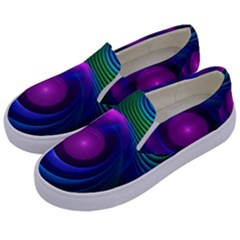 Beautiful Rainbow Marble Fractals In Hyperspace Kids  Canvas Slip Ons by jayaprime