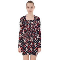 Skulls And Roses V Neck Bodycon Long Sleeve Dress by Valentinaart