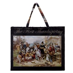 The First Thanksgiving Zipper Large Tote Bag by Valentinaart