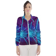 Beautiful Bioluminescent Sea Anemone Fractalflower Wind Breaker (women) by jayaprime