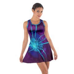 Beautiful Bioluminescent Sea Anemone Fractalflower Cotton Racerback Dress by jayaprime
