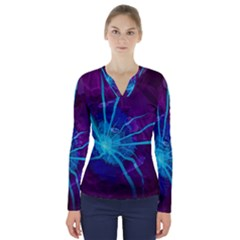 Beautiful Bioluminescent Sea Anemone Fractalflower V Neck Long Sleeve Top by jayaprime