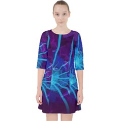 Beautiful Bioluminescent Sea Anemone Fractalflower Pocket Dress by jayaprime