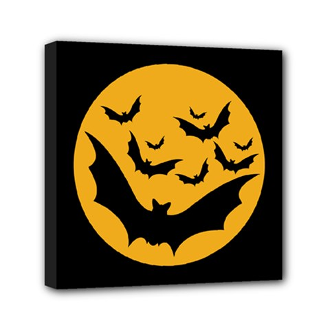 Bats Moon Night Halloween Black Mini Canvas 6  X 6