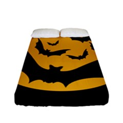 Bats Moon Night Halloween Black Fitted Sheet (full/ Double Size)