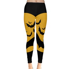 Bats Moon Night Halloween Black Classic Winter Leggings