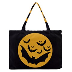Bats Moon Night Halloween Black Zipper Medium Tote Bag by Alisyart