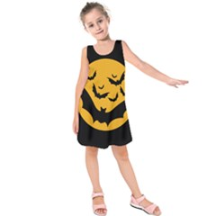 Bats Moon Night Halloween Black Kids  Sleeveless Dress by Alisyart