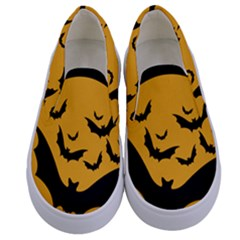 Bats Moon Night Halloween Black Kids  Canvas Slip Ons