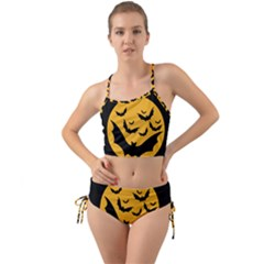 Bats Moon Night Halloween Black Mini Tank Bikini Set