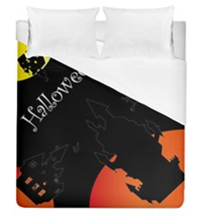 Castil Witch Hlloween Sinister Night Home Bats Duvet Cover (queen Size) by Alisyart