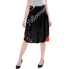 Castil Witch Hlloween Sinister Night Home Bats Midi Beach Skirt