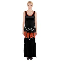 Halloween Bat Black Night Sinister Ghost Maxi Thigh Split Dress