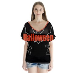 Halloween Bat Black Night Sinister Ghost V Neck Flutter Sleeve Top