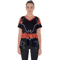 Halloween Bat Black Night Sinister Ghost Cut Out Side Drop Tee