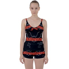 Halloween Bat Black Night Sinister Ghost Tie Front Two Piece Tankini