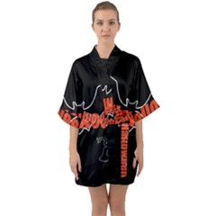 Halloween Bat Black Night Sinister Ghost Quarter Sleeve Kimono Robe by Alisyart