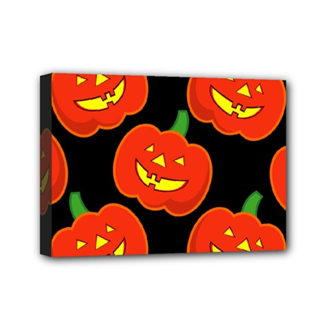 Halloween Party Pumpkins Face Smile Ghost Orange Black Mini Canvas 7  X 5  by Alisyart