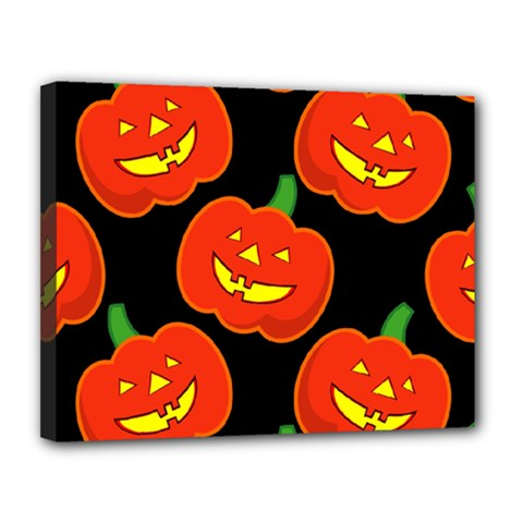 Halloween Party Pumpkins Face Smile Ghost Orange Black Canvas 14  X 11  by Alisyart