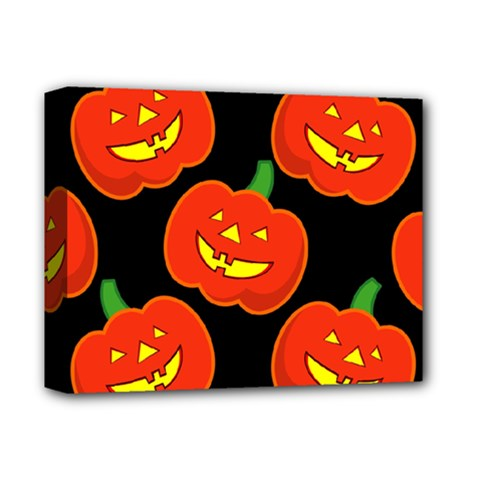 Halloween Party Pumpkins Face Smile Ghost Orange Black Deluxe Canvas 14  X 11  by Alisyart