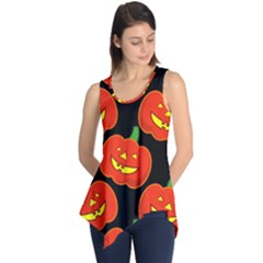 Halloween Party Pumpkins Face Smile Ghost Orange Black Sleeveless Tunic