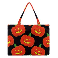 Halloween Party Pumpkins Face Smile Ghost Orange Black Medium Tote Bag