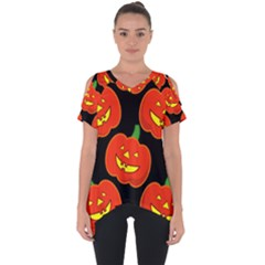 Halloween Party Pumpkins Face Smile Ghost Orange Black Cut Out Side Drop Tee