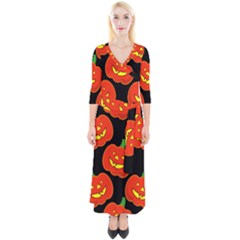 Halloween Party Pumpkins Face Smile Ghost Orange Black Quarter Sleeve Wrap Maxi Dress by Alisyart