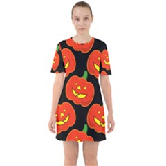 Halloween Party Pumpkins Face Smile Ghost Orange Black Sixties Short Sleeve Mini Dress