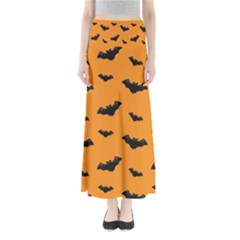 Halloween Bat Animals Night Orange Full Length Maxi Skirt by Alisyart
