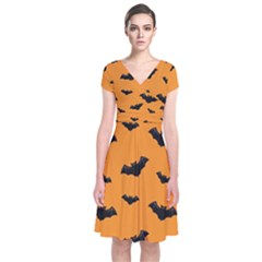 Halloween Bat Animals Night Orange Short Sleeve Front Wrap Dress