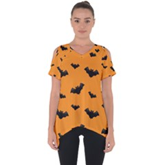 Halloween Bat Animals Night Orange Cut Out Side Drop Tee
