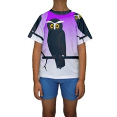 Halloween Owl Bird Animals Night Kids  Short Sleeve Swimwear