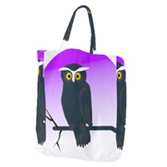 Halloween Owl Bird Animals Night Giant Grocery Zipper Tote