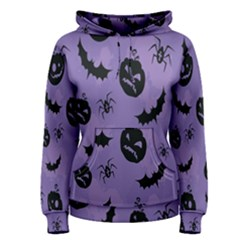 Halloween Pumpkin Bat Spider Purple Black Ghost Smile Women s Pullover Hoodie
