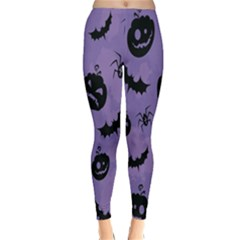 Halloween Pumpkin Bat Spider Purple Black Ghost Smile Classic Winter Leggings