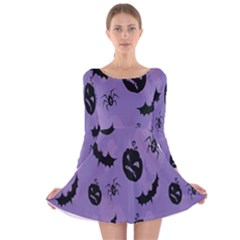 Halloween Pumpkin Bat Spider Purple Black Ghost Smile Long Sleeve Velvet Skater Dress