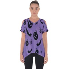Halloween Pumpkin Bat Spider Purple Black Ghost Smile Cut Out Side Drop Tee