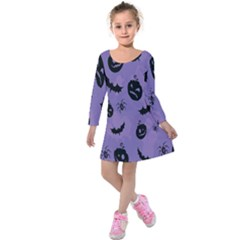 Halloween Pumpkin Bat Spider Purple Black Ghost Smile Kids  Long Sleeve Velvet Dress