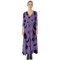 Halloween Pumpkin Bat Spider Purple Black Ghost Smile Button Up Boho Maxi Dress by Alisyart