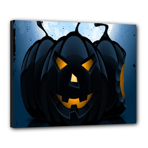 Halloween Pumpkin Dark Face Mask Smile Ghost Night Canvas 20  X 16  by Alisyart