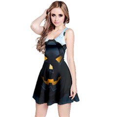 Halloween Pumpkin Dark Face Mask Smile Ghost Night Reversible Sleeveless Dress