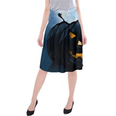 Halloween Pumpkin Dark Face Mask Smile Ghost Night Midi Beach Skirt