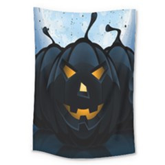 Halloween Pumpkin Dark Face Mask Smile Ghost Night Large Tapestry by Alisyart