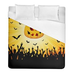Halloween Pumpkin Bat Party Night Ghost Duvet Cover (full/ Double Size) by Alisyart